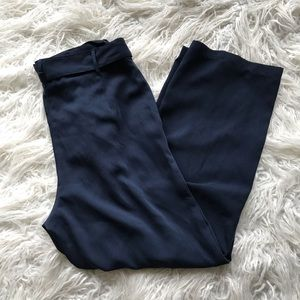 native youth navy high waist pleated tie trousers